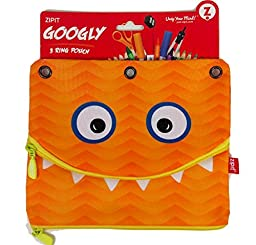 Googly 3 Ring Binder Double Pouch Pencils and Pen Case - Orange