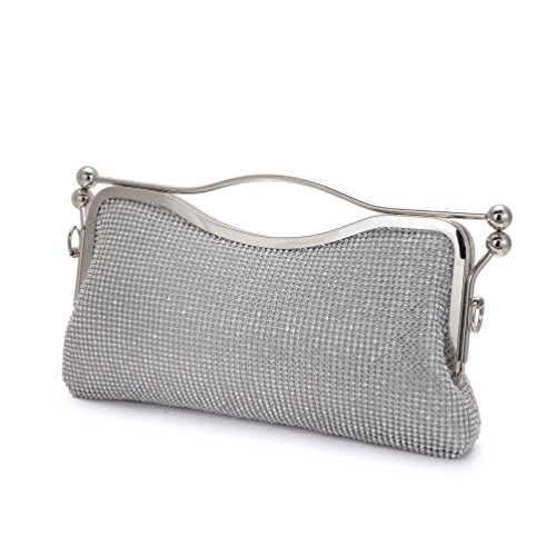Xindi Evening Bags Silver Clutches for Women Handbags Messenger Bags Rhinestone Bags Women Large Capacity Shoulder Bag by Xindi