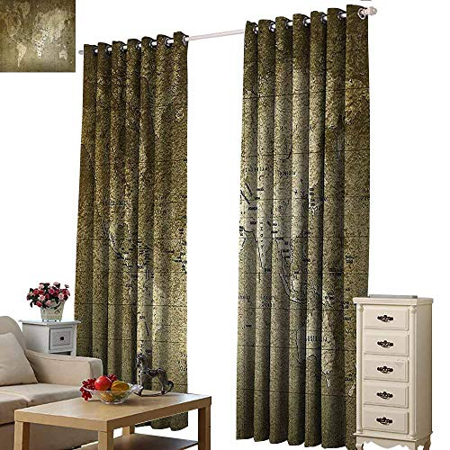 (Homrkey Warm Curtain Antique Old World Map with Great Texture Nostalgic Ancient Plan Atlas Trace of Life World Thermal Insulated Tie Up Curtain W84 xL96 Army Green)
