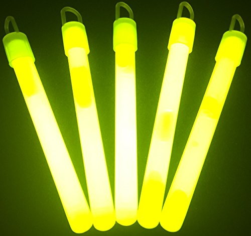 "Glow With Us Glow Sticks Bulk Wholesale, 50 4"" Yellow Glow Stick Light Sticks. Bright Color, Kids Love Them! Glow 8-12 Hrs, 2-Year Shelf Life, Sturdy Packaging, Brand"