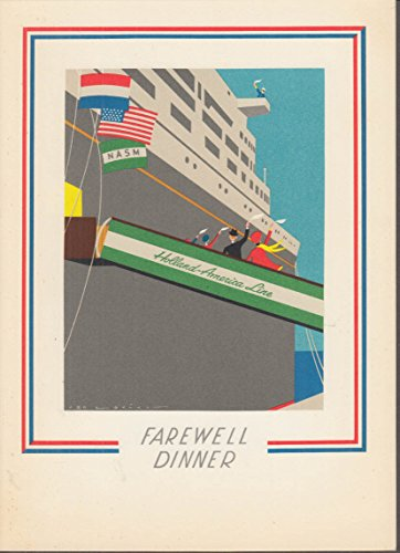 (Holland-America Line S S Nieuw Amsterdam Farewell Candlelight Dinner Menu 1968)