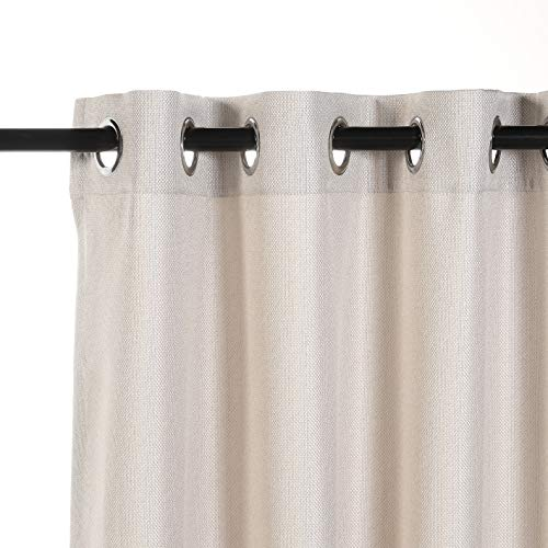 MYSKY HOME Premium Floral Curtains for Bedroom, Natural Linen Textured Room Darkening Curtains with Flower Print Design, Set of 1 Curtain Panel (52 x 84 Inch, Yellow)