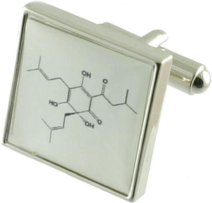 Cerveza molécula ciencia Gemelos para hombres Gemelos de plata de ley sólida 925 + caja de grabado mensaje, personalizable: Amazon.es: Ropa y accesorios
