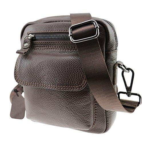 CMXSEVENDAY NOB015 Pequeña solapa hombres bolsas de mensajero, 7.5 Inch Bolsos de hombro de los hombres con correa de hombro de nylon - Marrón Marron
