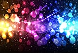 AOFOTO 6x4ft Fantasy Bokeh Neon Backdrop Christmas Snowflake Abstract Stars Colorful Halos Photography Background Photo Studio Props Grunge Fashion Holiday Party Decoration New Year Vinyl Wallpaper
