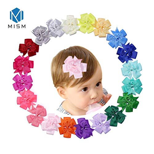 MISM Toddler Bow Clips Rainbow Bowknot Hair Clip Baby Girls Grosgrain Ribbon Boutique Cute Hair Accessories 40pcs/lot (With Hairpins)
