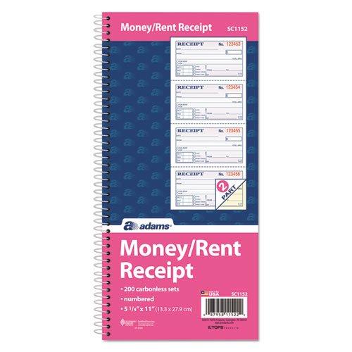 Adams Money and Rent Receipt Book, 2-Part Carbonless, 5 1/4 x 11 Inch Detached, Spiral Bound, 200 Sets per Book (SC1152) - Bundle Includes Plexon Ballpoint Pen (5-Pack Bundle) by PlexonPackaged-Adams (Image #2)