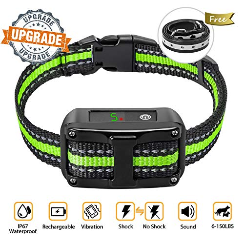 Newest 2019 Dog Bark Collar-5 Adjustable Sensitivity and Intensity Levels-Dual Anti-Barking Modes-Rechargeable Rainproof Reflective -No Barking Control Dog shock Collar for Small Medium Large Dog