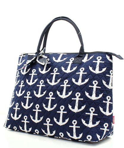 Quilted Anchor Overnight Tote Bag Navy