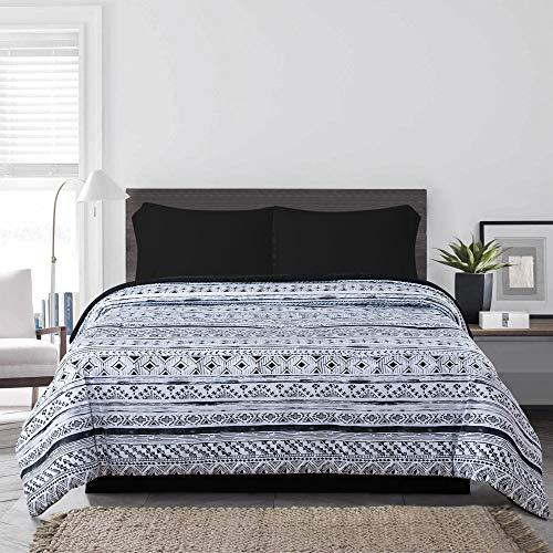 (R2Zen Santa Fe 4-Piece Bed-in-Bag Set, Twin XL, Black)
