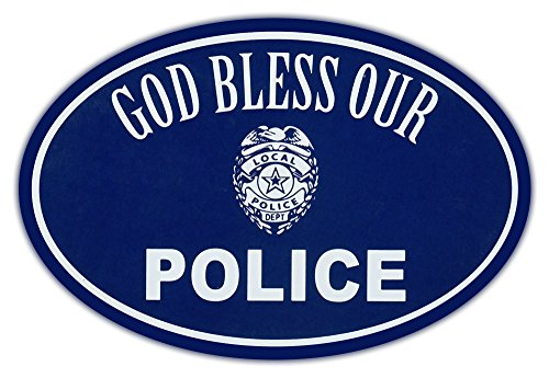 (Oval Car Magnet - God Bless Police - Support Law Enforcement - Magnetic Bumper Sticker)