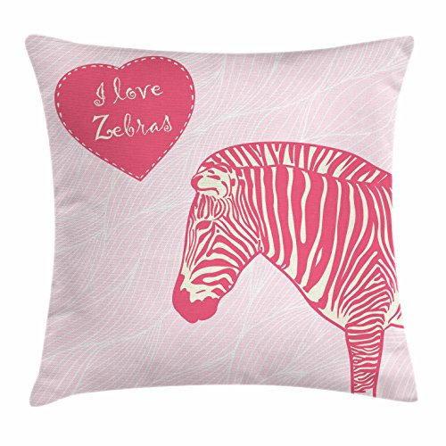 Ambesonne Pink Zebra Throw Pillow Cushion Cover, I Love Zebras in Heart Romantic Wilderness Nature Savannah Fashion, Decorative Square Accent Pillow Case, 26 X 26 Inches, Pink Ivory Pale Pink