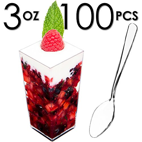 ps, Appetizer Bowls & Spoons with Recipe e-Book [Clear Plastic, 3 oz, Square Tall, 100 Count] Small Catering Supplies, Disposable Tasting Glasses, Parfait Tumblers, Shooters ()