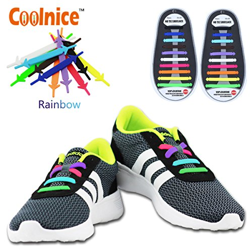 Coolnice No Tie Shoe Laces for Kids Men and Women - Waterproof Silicone Flat Elastic Athletic Running Shoelaces with Multicolor for Sneaker Boots Board and Casual Shoes