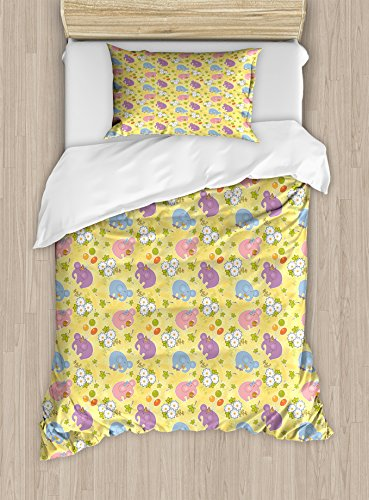 Ambesonne Elephant Duvet Cover Set Twin Size, Blossoming Cartoon Flowers and Animal Mascots Balloons Bow Ties Playful Clip Art, Decorative 2 Piece Bedding Set with 1 Pillow Sham, Multicolor