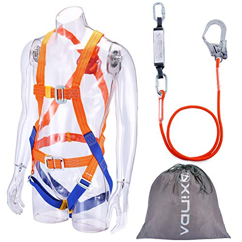 Fall Protection Safety Harness Full Body Safety Harness Personal Protection Equipment with Shock Absorb Webbing Lanyard (Orange with Lanyard)