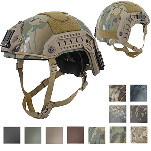 Helmet Shroud (Lancer Tactical LARGE - X-LARGE Industrial ABS Plastic Constructed Maritime Helmet Adjustable Crown with 20mm Side Rail Adapter Velcro padding NVG Shroud Bungee Retention (CAMOUFLAGE))