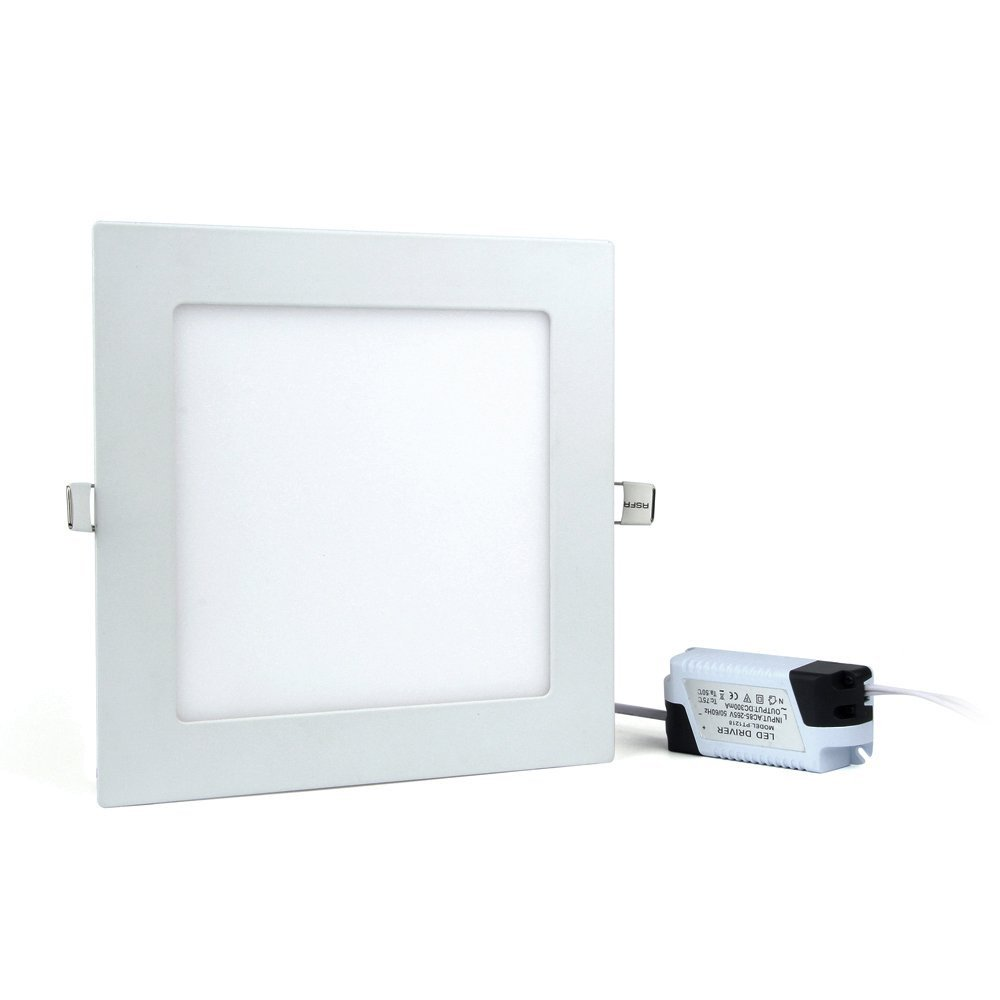 LED Panel Light,Recessed Ceiling light,ultrathin Square Shape,Trim Downlight Fixture Kit,LED Driver include,by JerryLamp 15W 7.8-in 1125LM 6000-6500K,for Home,Office,Commercial Lighting (White)