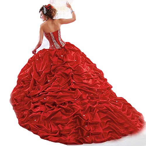 Women's Beaded Red Silvery Quinceanera Ball Chupeng Dresses Gown Sweetheart PwpzPqd