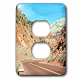 3dRose Jos Fauxtographee- Road to Zion - The red road that leads into Zion National Park with rock work - Light Switch Covers - 2 plug outlet cover (lsp_263324_6)