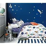 Cliab Rocket Bedding Set Galaxy Planets Twin Size Duvet Cover Set 100% Cotton 5 Pieces