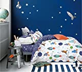 Cliab Rocket Bedding Set Galaxy Planets Twin Size Duvet Cover Set 100% Cotton (Twin 5pcs)