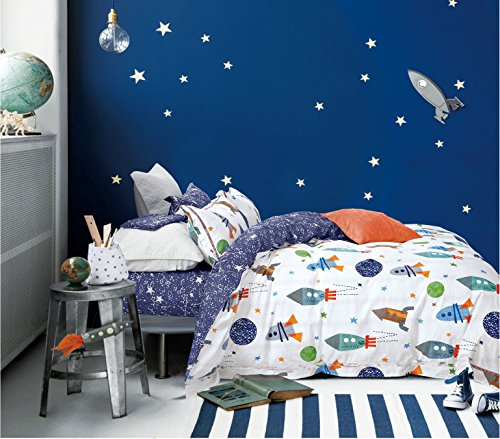 Cliab Space Bedding For Girls Queen Size Kids Duvet Cover Se
