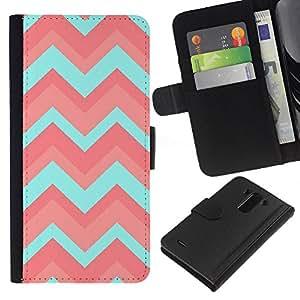 For LG G3 Case , Teal Pattern Pink Clean Light - la tarjeta de Crédito Slots PU Funda de cuero Monedero caso cubierta de piel