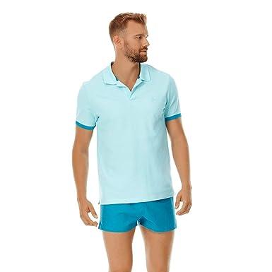 4ffc9db0ad Vilebrequin - Men Cotton Pique Polo Shirt Solid - Aquamarine - XS