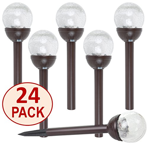 SET OF 24 Crackle Glass Globe Color-Changing LED & White LED
