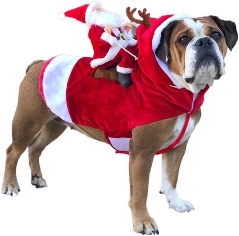 GLEYDY Navidad Ropa para Mascotas Estilo De Jinete Perros Trajes Papá Noel Que Monta Ciervos Perros Vestir Ropa De Navidad para Perros Pequeños Grandes Gatos Ropa para Mascotas,L