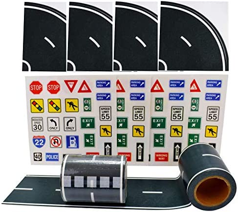 """Fun Road Tape for Toy Cars, 2 Rolls of 33'x2.4"""", Bonus 100 Die Cut Traffic Sign Stickers and 4 Curves, Perfect to Keep Your Kids Away from Screens, Develop Their Imagination and Memory, Play and Learn"""