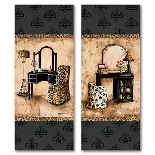 Gango Home Decor 2 Popular Vintage Vanity Panels with Animal Print; Two 8X20 Poster Prints -