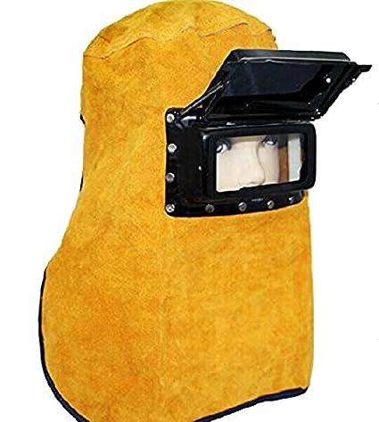 Buwico amarillo transpirable portátil plegable piel de vacuno careta de soldar cómodo capucha casco de cuello