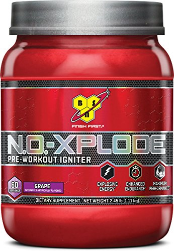 Energy Grape Flavor (BSN N.O.-XPLODE Pre-Workout Supplement with Creatine, Beta-Alanine, and Energy, Flavor: Grape, 60 Servings)