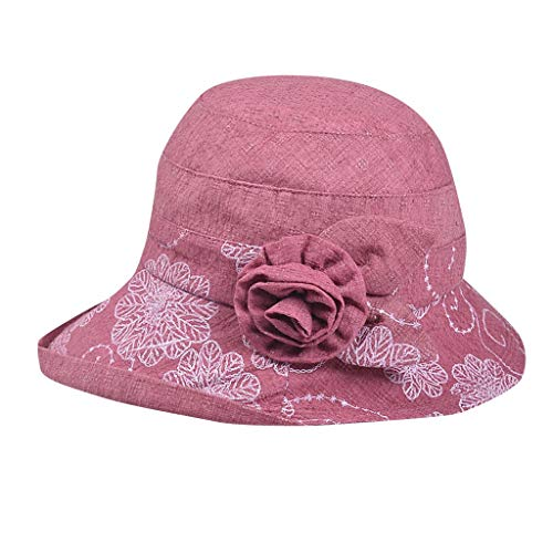 iNoDoZ Women's Bow-Knot Beach Sun Summer Hat and Ladies Wide Brim Floppy Foldable Tea Party Wedding Hat Red ()