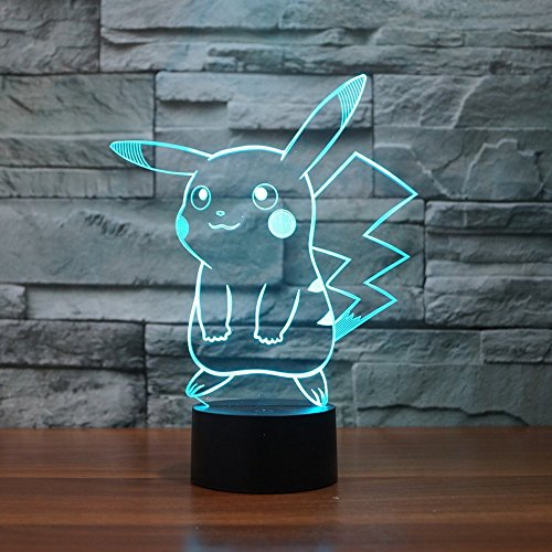 Pokemon Pikachu 3D LED Night Light, Elstey 3D Optical Illusion Visual Lamp 7 Colors Touch Table Desk Lamp ()
