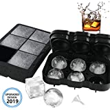 VOLOOP Ice Cube Trays | 2 Inch Large Sphere Round Ice Ball maker & Square Ice Cube Molds | Upgraded Design Preventing Leakage | Reusable Silicone BPA Free for Whiskey Cocktail | Set of 2 & free funnel