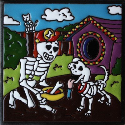 Fine Crafts Imports 6x6 Dog Lover. Day-of-The-Dead Clay Tile