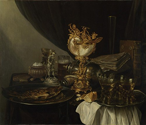 The Museum Outlet - Gerrit Willemsz. Heda - Still Life with a Nautilus Cup, Stretched Canvas Gallery Wrapped. 11.7x16.5""