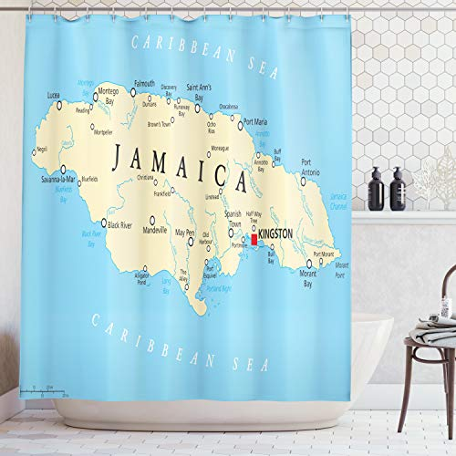Ambesonne Jamaican Shower Curtain, Map of Jamaica Kingston Caribbean Sea Important Locations in Country, Fabric Bathroom Decor Set with Hooks, 70 inches, Pale Blue Beige Black