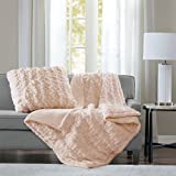 Madison Park Ruched Fur Luxury Throw Lavender 5060 Premium Soft Cozy Brushed Long Fur for Bed, Coach or Sofa