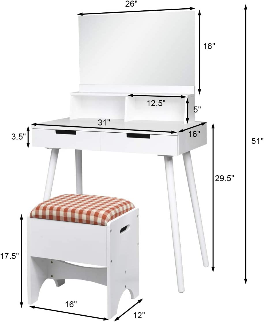Modern Bedroom Bathroom Vanity Dressing Set Writing Desk for Girls Makeup Dressing Table Set with 2 Drawers and Storage Compartments CHARMAID Vanity Set with Large Mirror and Cushioned Storgae Stool