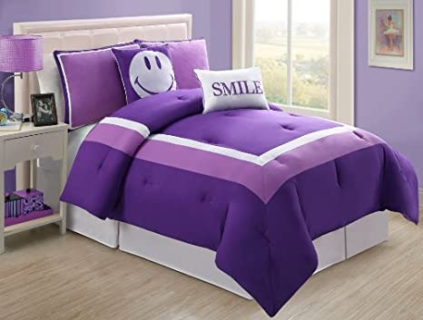 VCNY Hotel Juvi Comforter Set, 4-Piece,Twin, Purple Smile