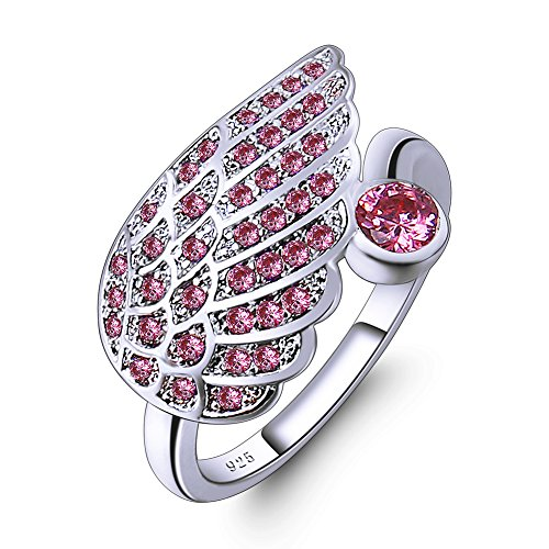 Veunora 925 Sterling Silver Pink Topaz Cluster Filled Wings Ring Size 9 ()