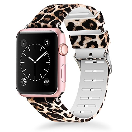 Lwsengme For Apple Watch Band 38mm, Women Soft Silicone Replacment Sport Bands for iWatch Series 3 Series 2 Series 1 - Leopard Pattern Printed by Lwsengme