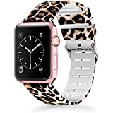 Lwsengme Compatible for Apple Watch Band 38mm 40mm, Soft Silicone Replacment Sport Bands iWatch Series 4 Series 3 Series 2 Series 1 - Pattern Printed (Cheetah-6, 38MM/40MM)