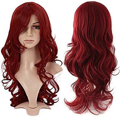 Peluca color rojo vino, completa, rizada, moderna Anime de S ...