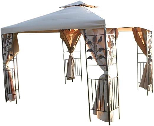 Reducción de-diseño de hojas 3 m cuadrado Garden Gazebo - beige y ...