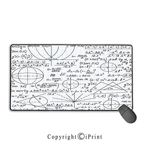 """Mouse pad with Lock,Modern,School Genius Smart Student Math Geometry Science Numbers Formules Image Art Decorative,Dark Purple White, Suitable for Offices and Homes,15.8""""x23.6""""inch"""